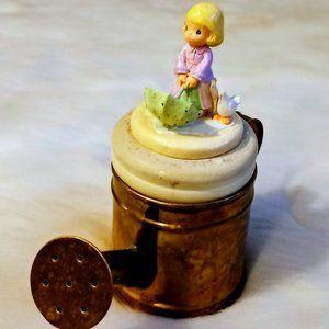 Vtg Hosley Brass Watering Can Girl Figurine Lid